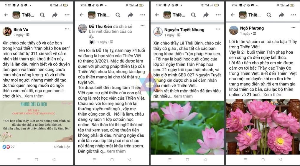 Những chia sẻ của học viên tham gia các khoá học online của Thiền Việt.